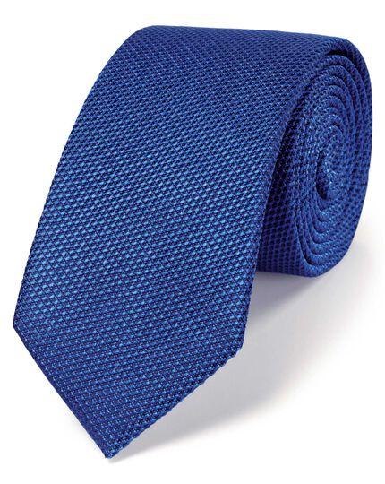 Royal blue silk classic plain slim tie