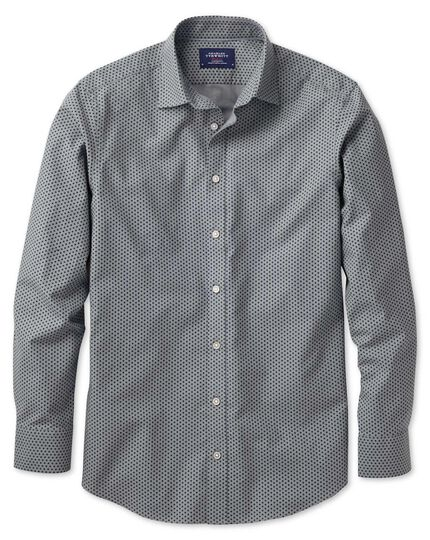 Slim fit navy and grey spot print shirt