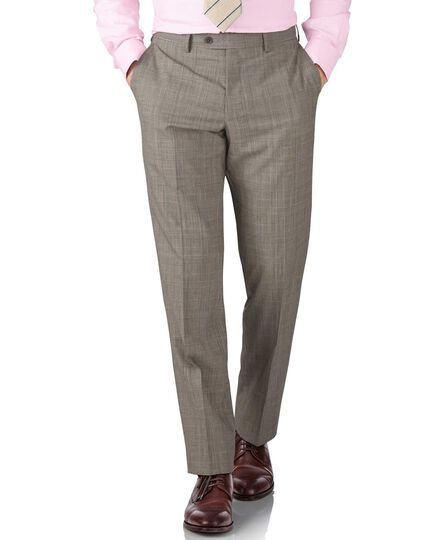 Grey Prince of Wales check classic fit Panama business suit pants