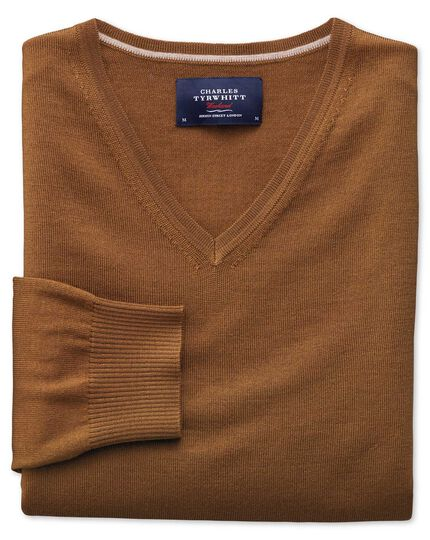 Tan merino wool v-neck jumper