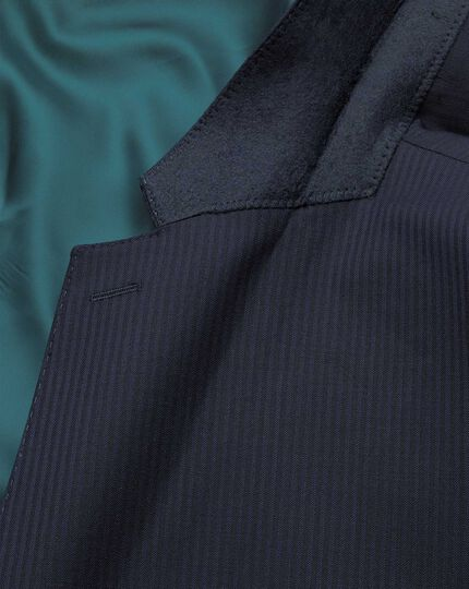 Navy herringbone classic fit Italian suit jacket