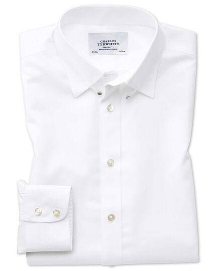 Slim fit tab collar non-iron twill white shirt