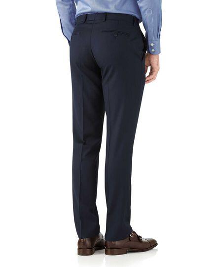 Pantalon de costume bleu marine coupe droite en tissu italien à chevrons