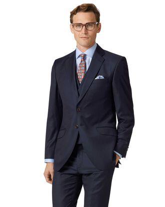 Slim Fit Luxus Anzug Sakko aus italienischem Twill in Marineblau
