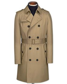 Classic fit stone trench coat