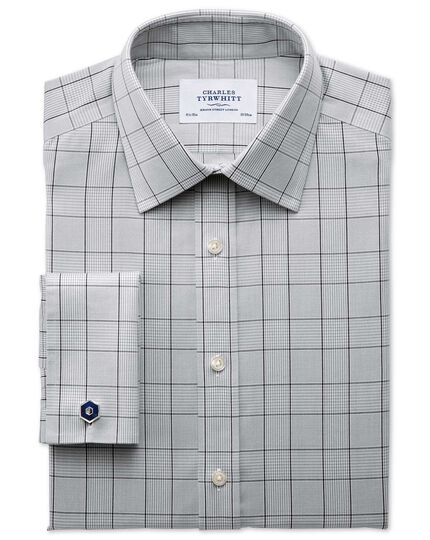 Slim fit non-iron Prince of Wales check grey and black shirt