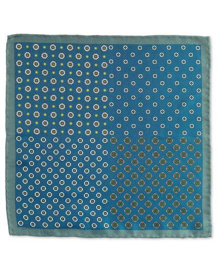 Blue classic printed medallion quarter pocket square