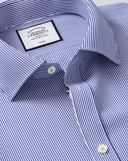 Slim fit non-iron Bengal stripe navy blue shirt