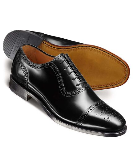 Black Clarence toe cap brogue shoes