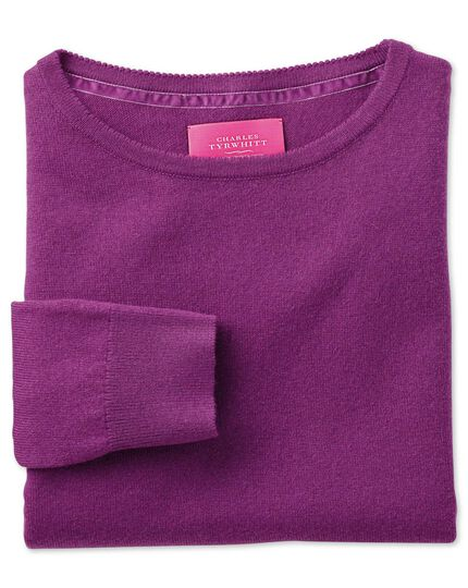 Purple merino cashmere long line jumper