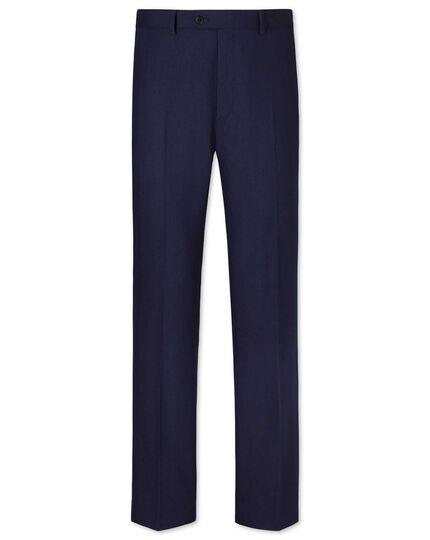 Royal blue classic fit herringbone business suit trousers