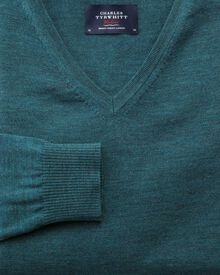 Teal merino wool v-neck jumper