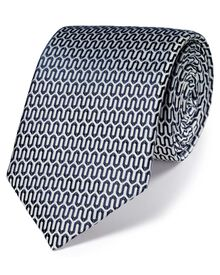 Silver and navy silk luxury English geometric tie