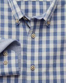 Extra slim fit blue melange check shirt