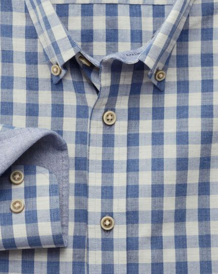 Slim fit blue melange gingham shirt