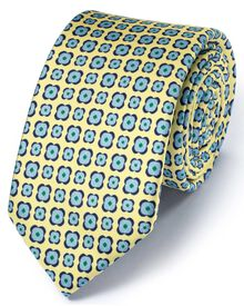 Slim light yellow silk classic floral tie