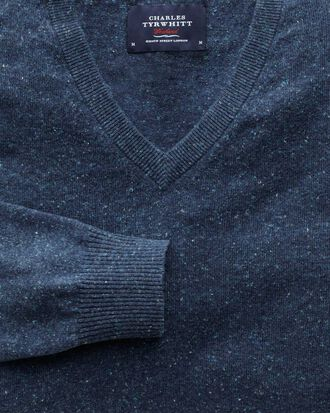 Indigo cotton cashmere v-neck jumper