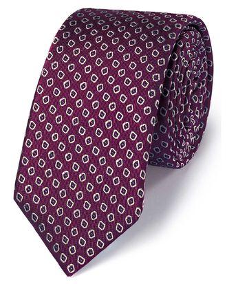 Dark purple silk slim diamond neat classic tie