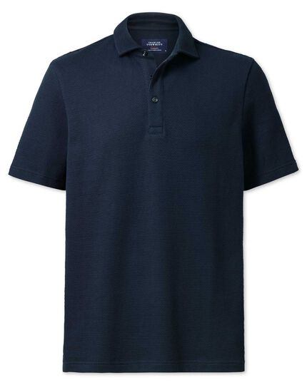 Classic fit navy waffle polo