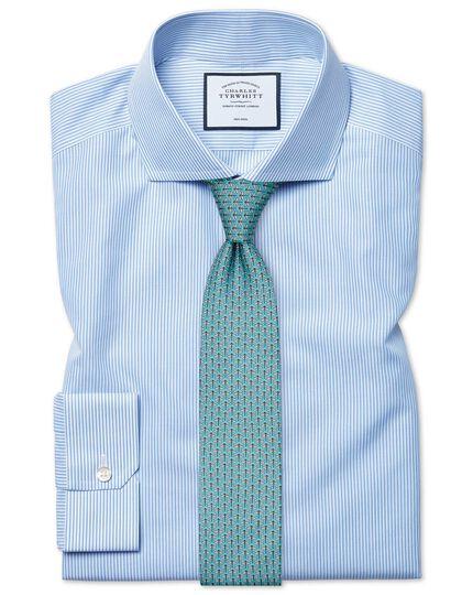 Bügelfreies Super Slim Fit Hemd in Blau mit Bengal-Streifen