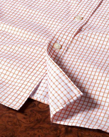 Classic fit non-iron windowpane check orange shirt