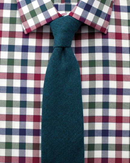 Slim fit country check navy and berry shirt