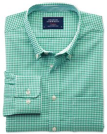 Bügelfreies Slim Fit Oxfordhemd in mittelgrün mit Gingham-Karos