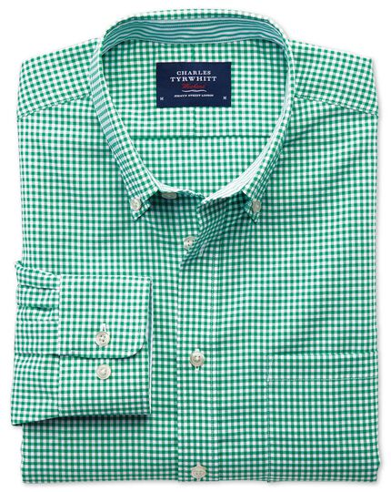 Extra slim fit non-iron Oxford gingham mid green shirt