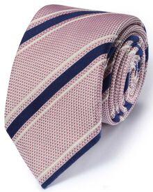 Luxuriöse italienische Grenadine-Krawatte aus Seidenmix in hellrosa mit Streifen