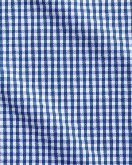 Slim fit button-down collar non-iron business casual royal blue check shirt