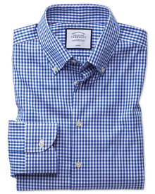 Extra slim fit button-down collar non-iron business casual royal blue check shirt