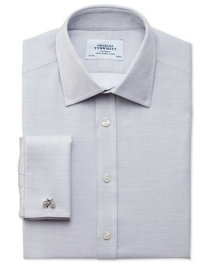 Slim fit Egyptian cotton diamond texture light grey shirt