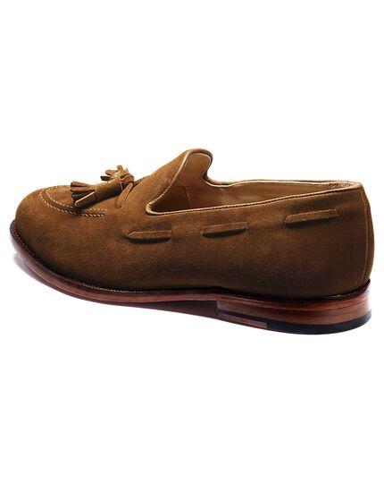 Tan Yardley suede apron tassel loafers