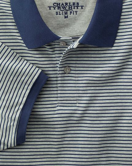 Slim fit blue and grey striped pique polo