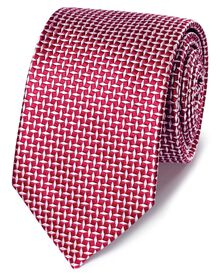 Red silk diamond lattice classic tie
