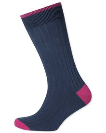 Dark blue ribbed cotton rich socks