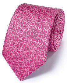 Dark pink silk classic paisley tie