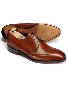 Brown Olden calf leather wing tip derby shoes