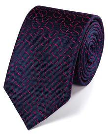 Klassische Seidenkrawatte in marineblau und rosa mit Oxford-Paisleymuster