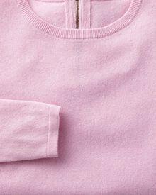 Light pink merino cashmere zip back sweater