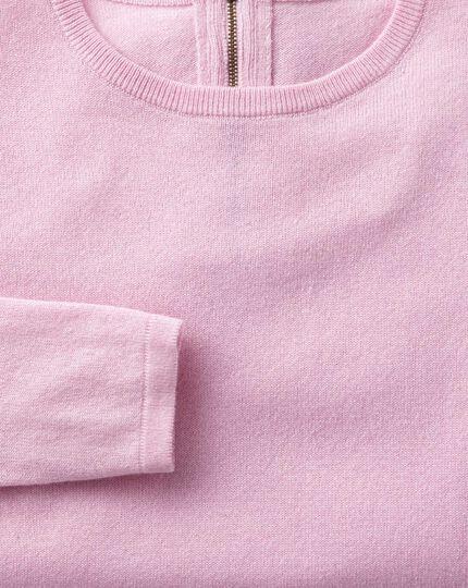 Light pink merino cashmere zip back jumper