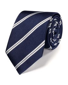 Navy and white silk classic double stripe tie