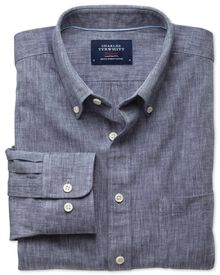 Slim fit chambray navy shirt