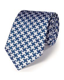 Blue silk luxury oversized end-on-end puppytooth tie