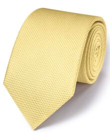 Light yellow silk plain classic tie