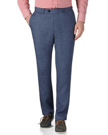 Blue slim fit linen pants