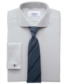 Slim fit cutaway collar non-iron herringbone grey shirt
