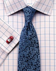 Classic fit non-iron check pink shirt