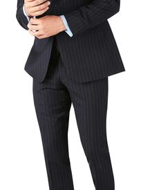 Navy stripe slim fit twill business suit