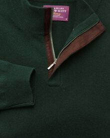 Green cashmere zip neck sweater